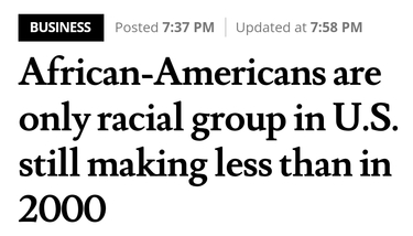 African-Americans are only racial group in U.S. still making less than in 2000